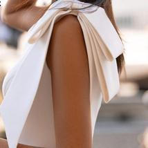 Sexy Sleeveless Single Bowknot Shoulder Solid Satin Mermaid Wedding Dress image 4