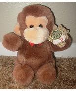 1986 Gund Animal Pet Monkey 9015 Plush Stuffed Animal Tags Brown Tan Red Bow Toy - $24.97