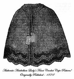 1870 Victorian Ladys Cape Tricot Crochet Pattern DIY Historical Reenactment 1