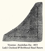 1873 Victorian Shawl Crochet Pattern DIY Historical Village Reenactment ... - $4.99