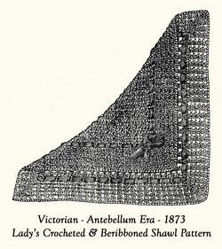 1873 Victorian Shawl Crochet Pattern DIY Historical Village Reenactment Wrapper