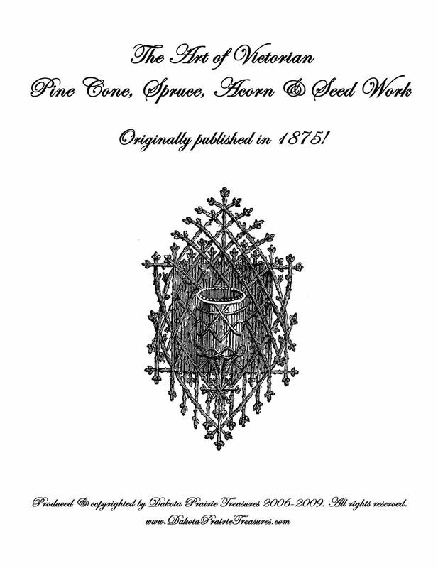 1875 Victorian Pine Cone Work Book Ornaments Frames DIY Woodland Craft Wood Work