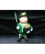 "Male Leprachaun Ceramic Holding Shamrock & Pot Of Gold 5"" St. Patrick's Day - $10.84"