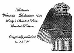 1879 Victorian Beaded Purse Crochet Pattern Ladys Bead Bag DIY Reenactment Garb