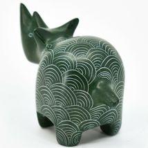 Vaneal Group Hand Carved Kisii Soapstone Green Rhinoceros Rhino Figure Kenya image 3
