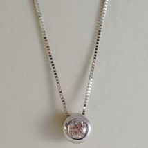 18K WHITE GOLD NECKLACE WITH DIAMOND 0.12 CARATS, VENETIAN CHAIN MADE IN ITALY image 1