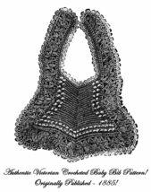 1885 Victorian Baby Bib Tricot Crochet Pattern DIY Edwardian Historic Re... - $4.99