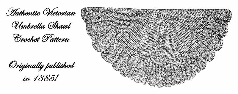 1885 Victorian Shawl Crochet Pattern DIY Historical Village Reenactment Crochet