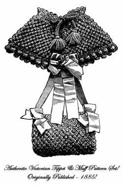 1885 Victorian Tippet Cape Muff Crochet Pattern DIY Historical Reenactment Set