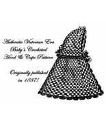 1887 Cape Pattern Baby Victorian Crochet Hooded DIY Historical Reenactme... - $4.99