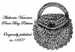 1887 Victorian Purse Crochet Pattern Bag Coin DIY Edwardian Reenactment Historic