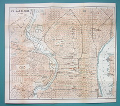 "1899 MAP by Baedeker 10 x 11"" - USA Philadelphia City Plan + Railraods - $16.20"