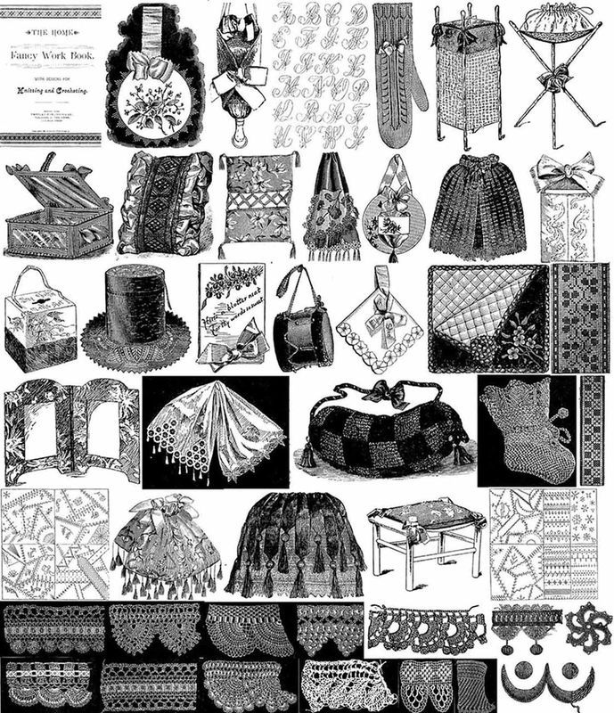 1892 Victorian Book Crochet Knit Lace Doily Patterns DIY Reenactment Designs