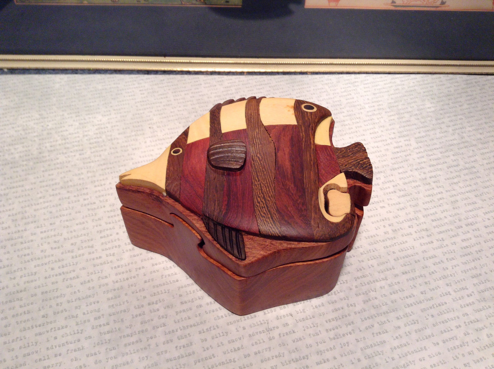 Wooden Hand Carved ANGEL FISH Puzzle Trinket Box