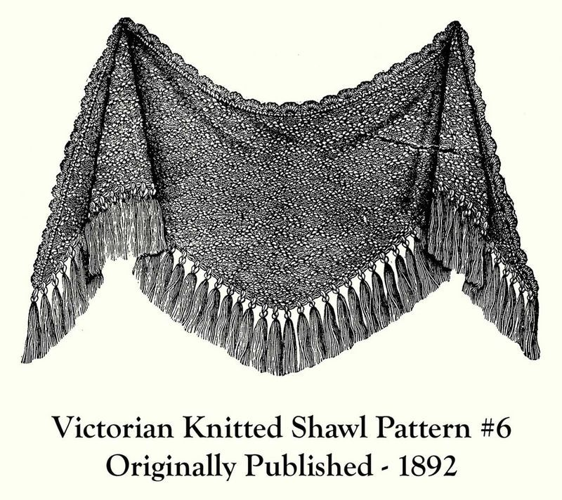 1892 Victorian Ladys Shawl Knit Pattern DIY Historical Reenactment 7 Wrapper