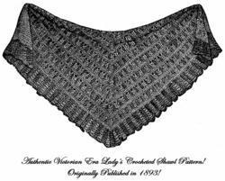 1893 Victorian Shawl Crochet Pattern DIY Historical Village Reenactment 9 Wrap