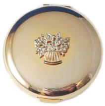 Double Mirror Compact Flower Basket Goldtone - $6.99