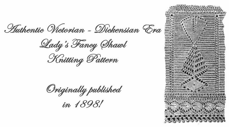 1898 Victorian Triangle Shawl Knit Pattern DIY Historical Reenactment Garb