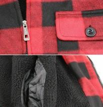 Men's Heavyweight Flannel Zip Up Fleece Lined Plaid Sherpa Hood Jacket w/Defect image 2