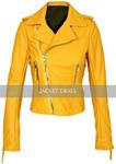 Yellow Womens Motorcycle Brando Style Biker Premium Genuine Leather Jacket