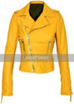 Yellow Womens Motorcycle Brando Style Biker Premium Genuine Leather Jacket image 1
