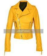 Yellow Womens Motorcycle Brando Style Biker Premium Genuine Leather Jacket - $179.99