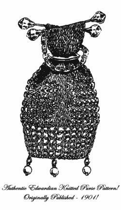 1901 Victorian Knit Purse Pattern Bag Reticule DIT Edwardian HistoricReenactment