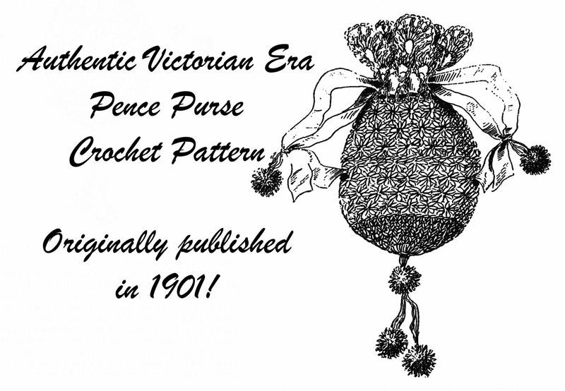 1901 Victorian Purse Crochet Pattern Bag Hand Reticule DIY HistoricalReenactment