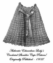 1902 Edwardian Shoulder Cape Crochet Pattern DIY Historical Reenactment ... - $4.99