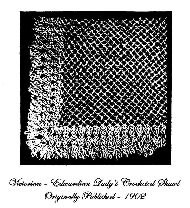 1902 Victorian Edwardian Shawl Crochet Pattern DIY Historical Reenactment 6 Wrap