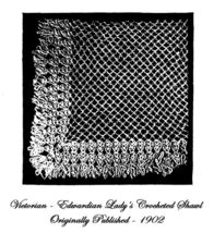 1902 Victorian Edwardian Shawl Crochet Pattern DIY Historical Reenactment 6 Wrap - $4.99