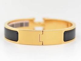 Authentic Hermes 2015 Black Enamel Gold H Clic-Clac Bracelet PM image 3