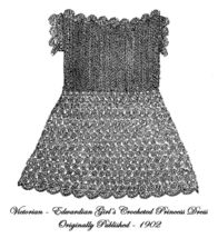 1902 Victorian Girls Dress Crochet Pattern DIY Edwardian HIstoric Reenac... - $4.99