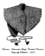 1902 Victorian Lady Crossover Crochet Pattern DIY Edwardian Historic Ree... - $4.99