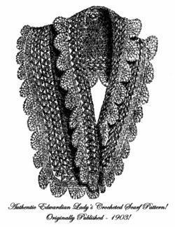 1903 Edwardian Lady Shawl Scarf Crochet Pattern DIY Historical Reenactment Wrap