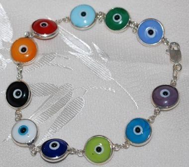 Bracelet evil eye ss multi color chain