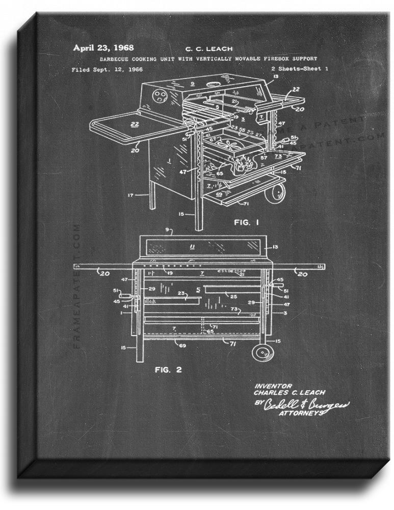 Primary image for Barbecue Cooking Unit Patent Print Chalkboard on Canvas