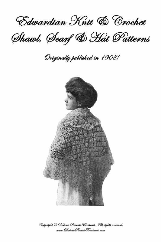 1908 Gibson Girl Era Shawl Book Patterns Knit Crochet Cape Capes Shawls Designs