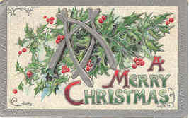 A  Merry Christmas  1909 Post Card - $5.00