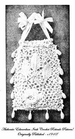 1910 Gibson Girl Art Nouveau Purse Pattern IRISH CROCHET Irish Crochet Pattern 3