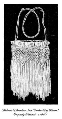 1910 Gibson Girl Art Nouveau Purse Pattern IRISH CROCHET Irish Crochet Pattern 4