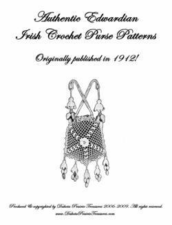1912 Art Neuveau Irish Crochet Book Purse Patterns WWI Titanic Bags Opera