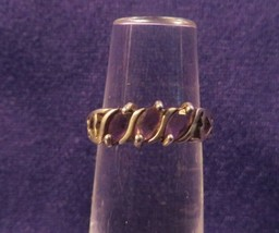 Vintage Marked 925 Ring Or Band w/ Hearts & 3 Amethyst Stones Size 6 - $17.77
