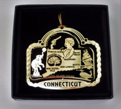 Connecticut State Landmarks Brass Ornament Black Leatherette Gift Box - $14.95