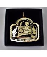 Connecticut State Landmarks Brass Ornament Black Leatherette Gift Box - $14.95