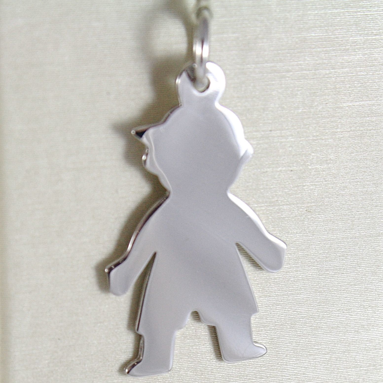 WHITE GOLD PENDANT 750 18K, CHILD, CHILD LONG 3.2 CM, WITH CAP