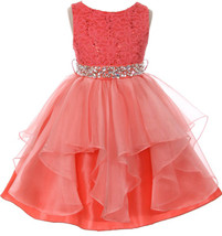 Flower Girl Dress Sequin Lace Top Ruffle Skirt Coral MBK 357 - $43.56+