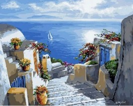 USA - DIY Paint by Number Kit Acrylic Painting Home Decor - Greek Island - $18.80