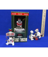 Coca Cola Coke Musical Polar Bear 1993 Holiday Figurines & Ornament Lot ... - $10.88