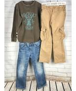 GAP KIDS Outfit Set Thermal Top + Straight Jeans Cargo Pants Khaki Boys ... - $34.45